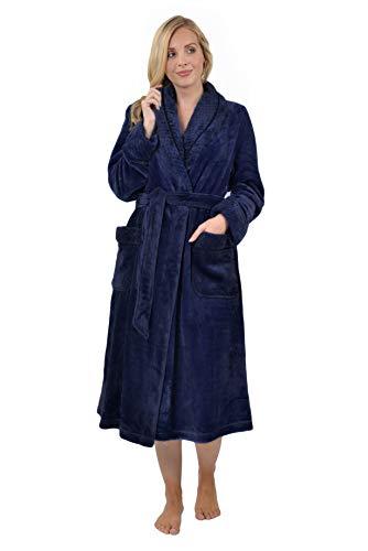 RAIKOU Kuschel weicher Bademantel Hausmantel, Loungewear Saunamantel für Damen, aus luxuriösem Flausch Coral Fleece auch als Morgenmantel perfekt(Nachtblau, 40/42)