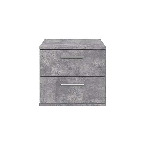 Newface nachtkastje, nachtkastje met 2 laden, geschikt voor futonbedden, betonlook, één maat