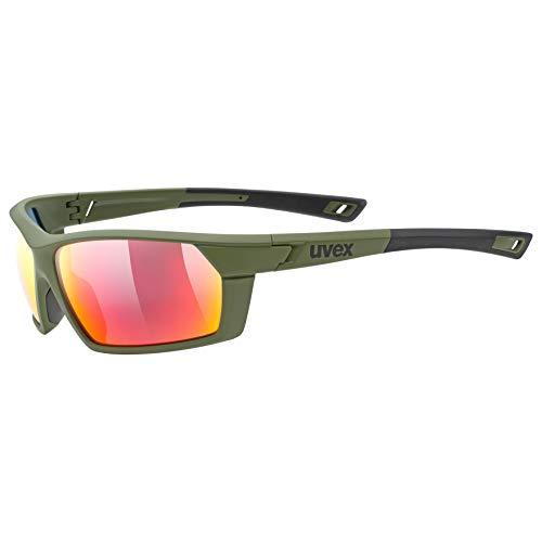 uvex Unisex– Erwachsene, sportstyle 225 Sportbrille, olive green/red, one size