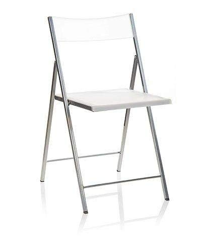 Eurosilla Slim - Silla Plegable para Salón, Blanco, 77 x 43 x 45 cm, 1 unidad