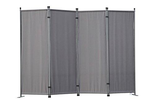 Angel Living Paravent 4tlg Sichtschutz,Faltbildschirm Raumteiler Sichtschutz aus Stahl und Polyester(Grau)