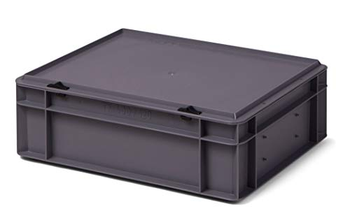 Design Aufbewahrungsbox mit Deckel | Stapelbox stapelbar | 5 Farben | 8 Größen (40x30x13 cm, grau)