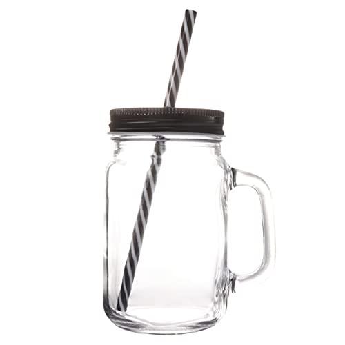 Lurrose Vaso de Cristal de 500ML Jarra de Albañil Tazas con Tapa de Paja Tazas Botellas Batidos Tazas para Bebidas Jugo Café Agua Leche Té