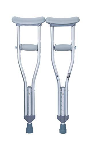 McKesson Underarm Crutches Aluminum Frame Child 175 lbs. Weight Capacity Push Button Adjustment Push Button Adjustment, 146-10427 - One Pair