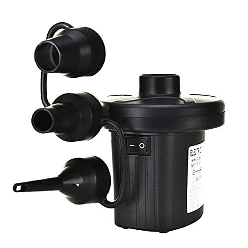 Tuimiyisou Bomba de Aire eléctrica, Camping Bombas eléctricas inflador/deflactor con 3 boquillas para Barcos colchones de Aire de Natación Anillo Camas de Aire hinchables Negro Reino Unido Style3