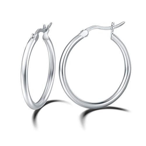 Creolen Ohrringe Groß Rund Hängend Creolen Huggie Creolen Ohrringe für Fraun Damen Mädchen - Durchmesser 30 mm