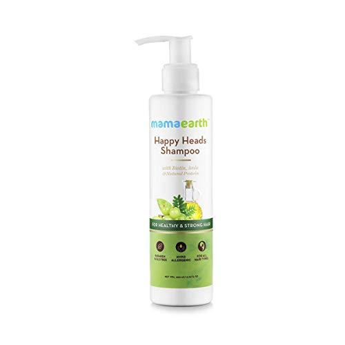 Mamaearth Glückliche Köpfe Natürliches Protein Hair Shampoo 200 ml mit Biotin, Rosskastanie, Bhringraj und Amla. Sulfate Frei, SLES Kostenlos