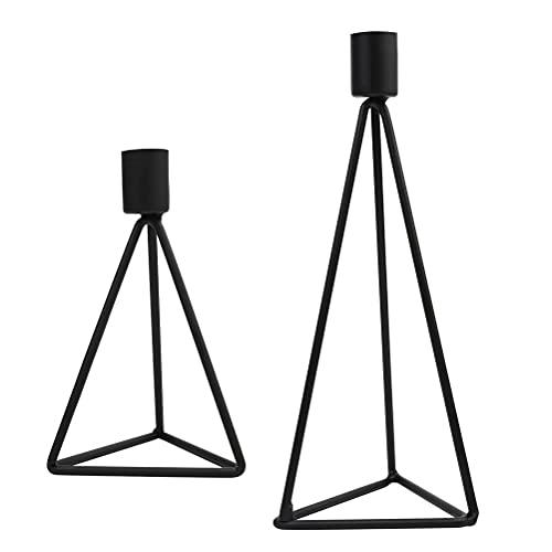 NA 2 verpakkingen eenvoudige kandelaars in Scandinavische stijl zwart (klein + groot)