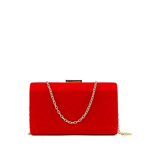 MODELISA - Bolso De Fiesta Clutche Mano Con Cadena Hombro Mujer (Rojo)