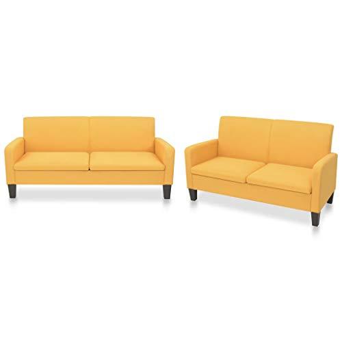 Tidyard Conjunto de sofás 2 Piezas Tela Amarillo Sofá de Esquina de Tela Sofás de salón