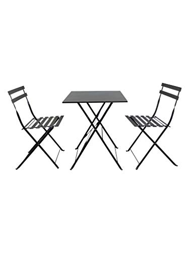 PiuShopping Set da Pranzo per Giardino, in Acciaio con Tavolo Quadrato E 2 SEDIE Pieghevoli (Grigio)