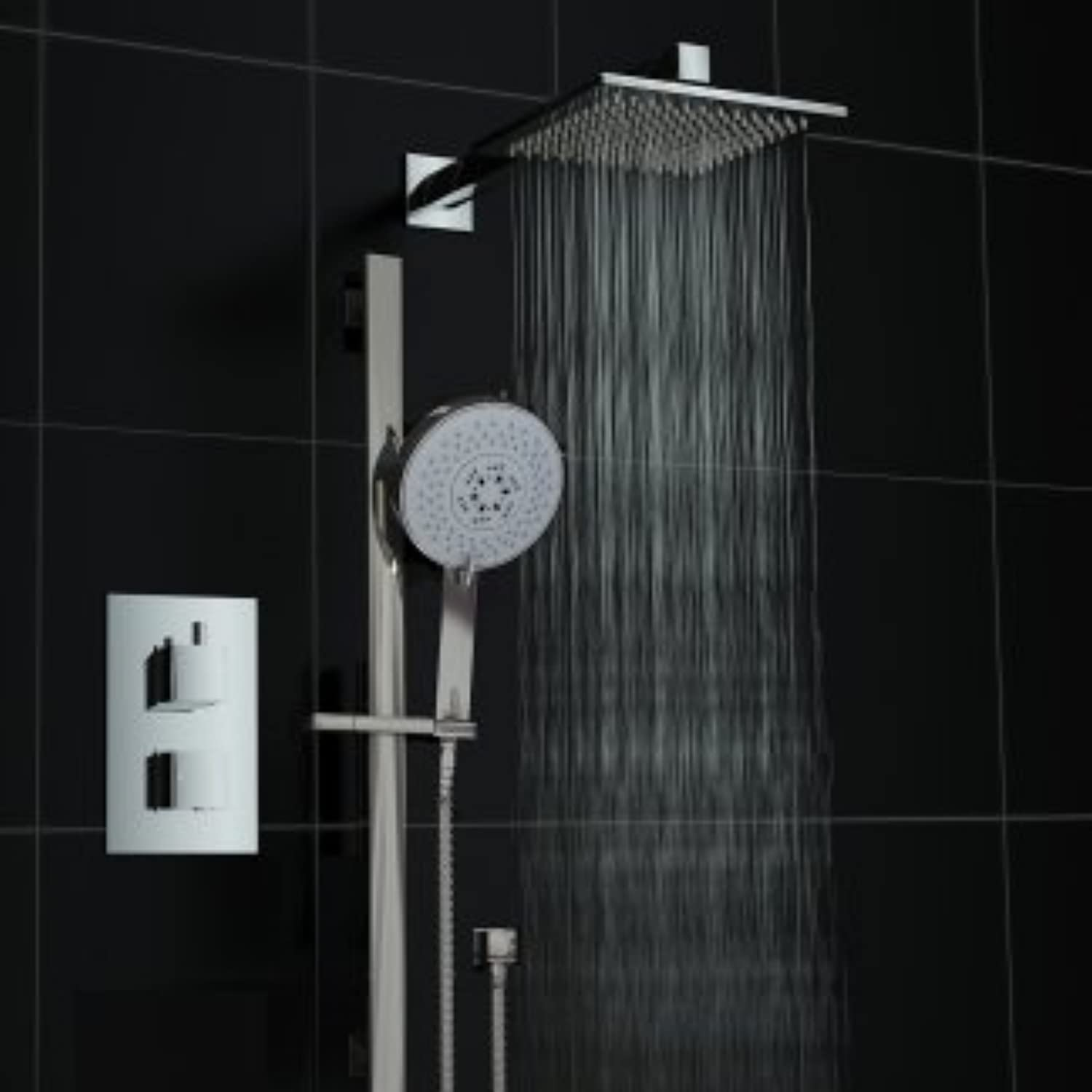 Twin 2 Way Square Concealed Thermostatic Shower Mixer Valve Rail Set
