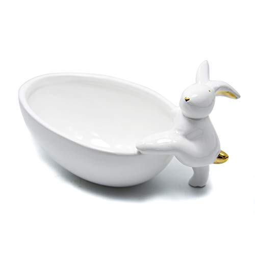 Yalucky Decor Ceramic Fruit Bowl Plate Rabbit Bunny Candy Dishes Storage Tray Snack Bowl Jewelry Dessert Creative Decoration Serving Bowls Gift (Climbing Rabbit)