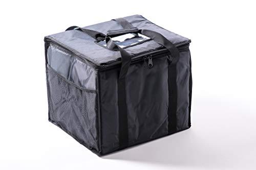 Bolsa térmica, para llevar y entregar comida, con aislamiento térmico, bolsillos de malla y compartimento de plástico T17