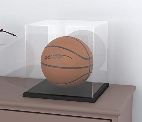 Display Case with Lid for Collectibles, 11 Inch Acrylic Box with Black Velvet Base for Display, Alternative Glass Display Case for Football, Figures and Toys [11x11x11 inch]