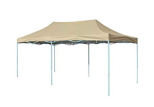 Zerone Cenador de Jardín, Carpa Pleglable Pop-up Impermeable y Anti-UV para Exteriores, Boda, Fiesta y Camping, Blanco Crema 3 x 6 m