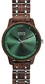 Dakota Genuine Red Sandalwood Unisex Wood and Stainless Steel Adjustable Link Watch