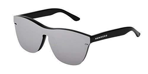 HAWKERS · Gafas de Sol ONE Venm Hybrid Chrome, para Hombre y Mujer, con montura negra acabado brillo y lente de máscara gris con efecto espejo, Protección UV400