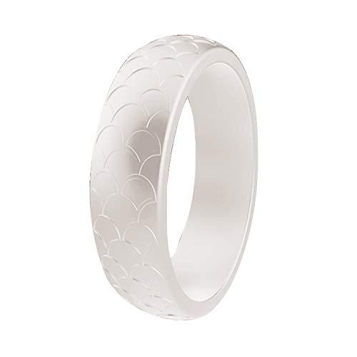 Ruby569y 2 anillos de silicona con patrón de escamas de pescado para cumpleaños, boda, aniversario, compromiso, accesorio de fiesta de moda para mujeres y hombres, parejas, junio, color perla US 4