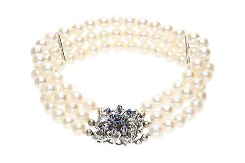 edmira Armband 3-reihig Akoya-Perle, Schließe WG 14K mit blauen Spinellen