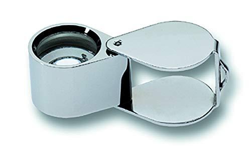 Steenloep - standaard zilver - Aplantisch met twee vlakconvexe lenzen - In leren etui - Vergroting: 10 x - Lens-Ø: 18 mm - C4230532