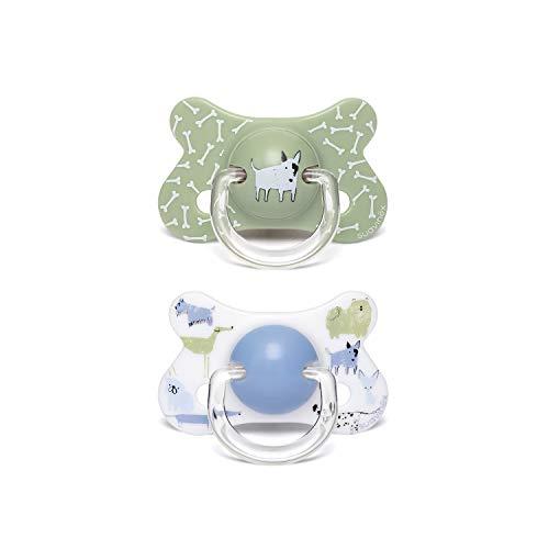 Suavinex - Pack 2 chupetes para bebés +18 meses. con tetina anatómica látex. color Perritos Verde