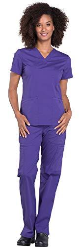 CHEROKEE Workwear Professionals Women's V-Neck Top WW665 & Women's Pull-On Cargo Pant WW170 Medical Uniforms Scrub Set (Grape - Large - Medium Tall)