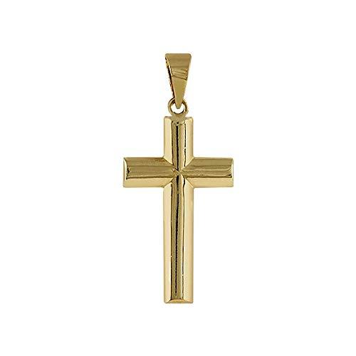 Gelbgold Kreuz 18k Doppelrohrblatt Modell Cruces Durchschnitt flach. Maße: 21x12x3mm.