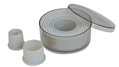De Buyer 4308.00 Boîte de 9 Découpoirs Emporte-pièces Ronds Unis - Plastique - Ø de 2 à 10 cm