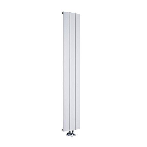 Hudson Reed Radiador Aurora de Diseño Vertical - Radiador de Aluminio con Acabado Blanco - 920W - 1600 x 280mm - Calefacción Moderna