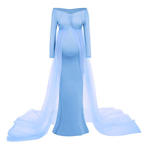 IBAKOM - Vestido para embarazo o mujer, manga larga, cuello en V, para bebé, para fotografía, para fiestas o bodas azul celeste L
