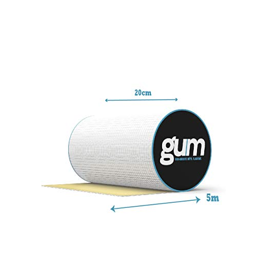 Gum Super Waterproof Butyl Rubber Aluminium Foil Tape - Leak Repair Tape for Roof, Gutter - in or Outdoor Use Waterproof Tape for Plastic and Metal Repairs - 5m Length (200mm(W) x 5M(L))