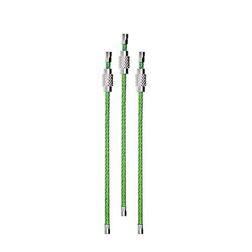MISDD 10pcs Colorido de Alambre de Acero Inoxidable Llavero mosquetón Círculo Clave de Cuerda de Cable de Lazo al Aire Libre Que acampa yendo Tornillo de Bloqueo Llavero (Color : Green)