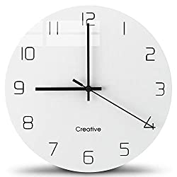 Glass Wall Clock 12 Inch Modern Minimalist Clock Silent Non Ticking Table Living Room Classic Ultra-Thin Minimalist Creative Wall Clock Mute Round White