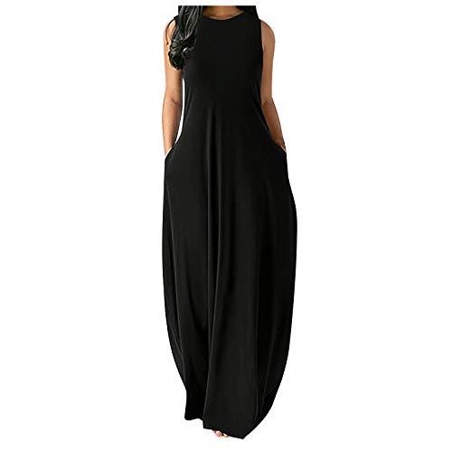 Zieglen Women Casual Summer Sleeveeless Sexy Plus Size Loose Plain Long Maxi Dress with Pockets Beach Sundress Black