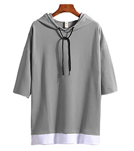 [Make 2 Be]メンズ 7分袖 パーカードロップショルダー Tシャツ フード付き ゆったり レイヤード カットソー シャツ プルオーバー オーバーサイズ 5分袖 半袖 MF74(23.Gray_XL)