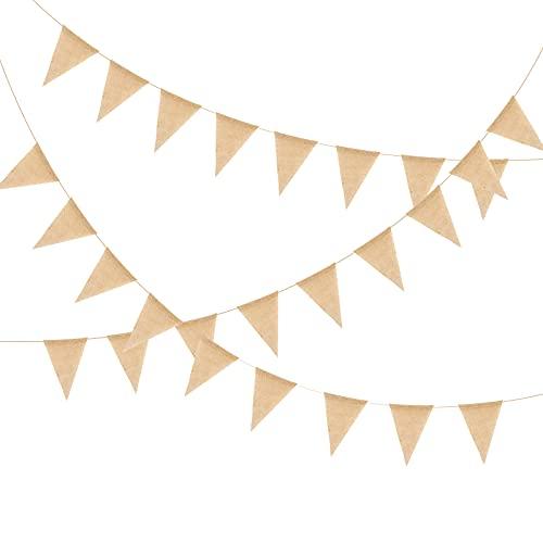 CINVEED 50 Stück 12M Wimpelkette Vintage Hochzeit Wimpel Girlande Leinen Dreiecksflaggen Fahnen Deko für Outdoor Geburtstag Party Kinderzimmer Brautdusche Draußen Zimmerdeko