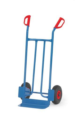 Fetra B1115L Stahlrohrkarre, Traglast 250 kg, Schaufel L 400 x 150 mm, Luftbereifung, H x B 1150 x 620 mm, blau