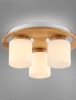 Lámpara de techo blanco beige pantalla de tela madera B 32 ...
