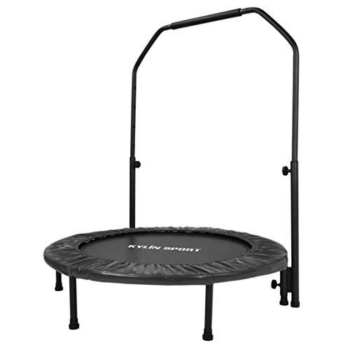 KYLIN SPORT Trampoline de Fitness Pliable Trampoline de Gym Ø100cm Supportant jusqu'à 100KG pour Enfant ou Adulte Trampoline d'intérieur ou l'exterieur (Noir)
