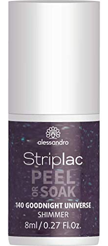 alessandro Striplac Peel or Soak Good Night Universe – LED-Nagellack in grünlich schimmerndem Grau-Violett – Für perfekte Nägel in 15 Minuten – 1 x 8ml