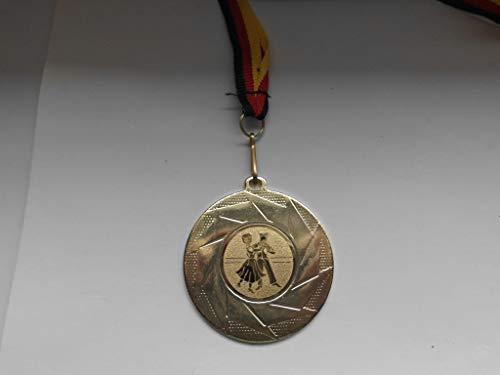 Fanshop Lünen 10 Stück Medaillen - mit Alu Emblem Tanzen - aus Stahl 50mm / Gold - inkl. Medaillen Band - Medaille - (e101) -
