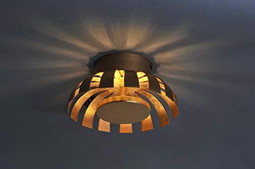 LED Deckenleuchte Gold Design Ø26cm 3000K Wohnzimmer Deckenlampe indirekte Beleuchtung Schlafzimmer