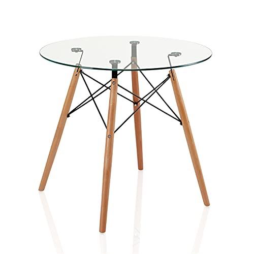 Poazmron Mesa redonda de comedor de cristal, mesa de salón moderna con patas de madera de haya, mesa de cocina, 80 x 80 x 75 cm, transparente