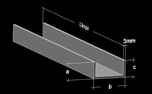 Alu U-Profil 40 x 60 x 40 x 3,0 mm Aluminium AlMgSi0,5 U-Stab Profil Aluprofil U-Stange (50 cm (2 Stck.))