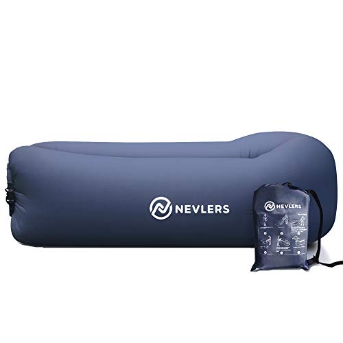 Nevlers Inflatable Lounger with Side Pockets and Matching Travel Bag - Dark Wash Blue Jeans Print - Waterproof and Portable - Great & Easy to Take to The Beach, Park, Pool, and as a Camping Accessory
