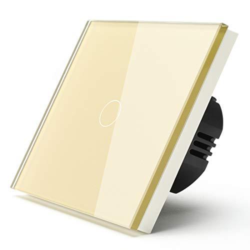 BSEED Touch Lichtschalter 1 Fach 1 Weg Nicht-WIFI-Touch-Schalter Wandleuchtenschalter lichtschalter 3-500W Lastleistung Glasscheiben lichtschalter glas 86mm lichtschalter Gold