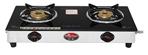 Surya Flame 2Burner Lifestyle Stainless Steel 2 Burner Glass Top...
