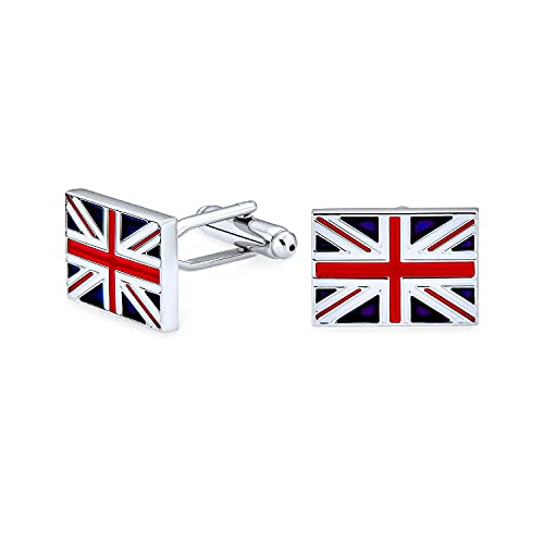 Union Jack UK Drapeau Anglais Bleu Blanc Rouge pour Les Homme Chemise Boutons De Manchette Acier Laiton Charnière