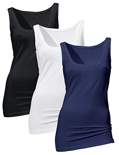 H HIAMIGOS 3 Pezzi Tanktop da Donna Top Lungo Base Elastico Senza Maniche Camicia Casual Collo Tondo Slim Fit Nero+Bianco+Blu Medium